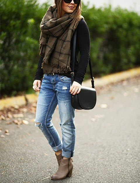 how to wear ankle boots with jeans fashion purewow. Black Bedroom Furniture Sets. Home Design Ideas