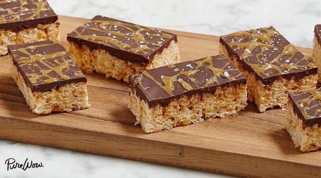 Salted Caramel & Chocolate Rice Krispies Squares