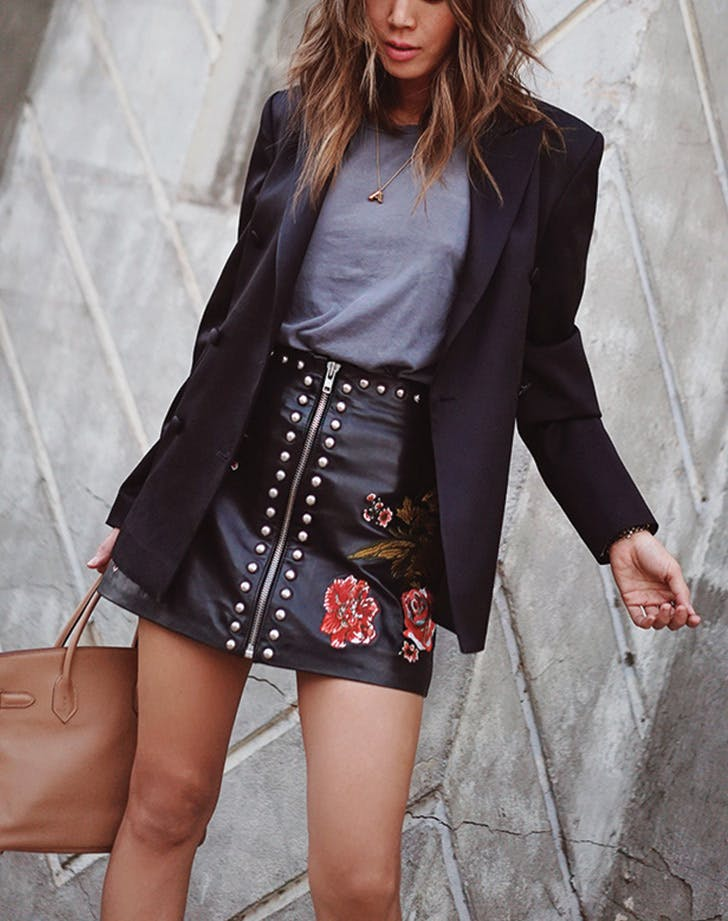 tshirt leather skirt blazer