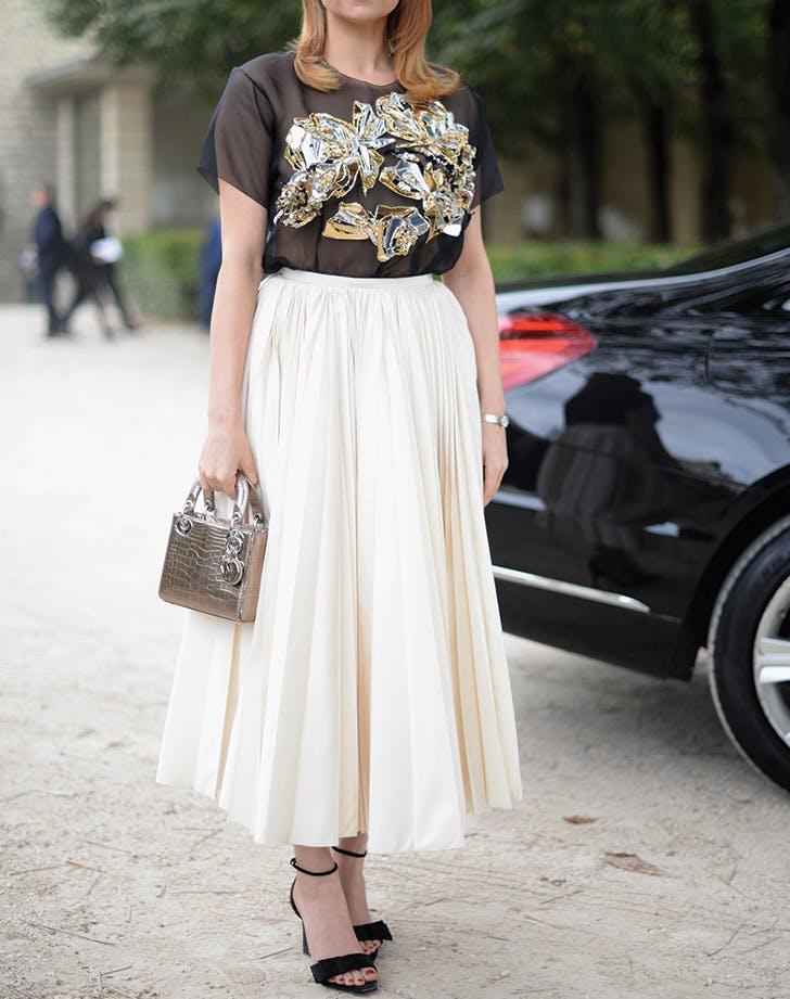 tshirt midi skirt ankle strap heels