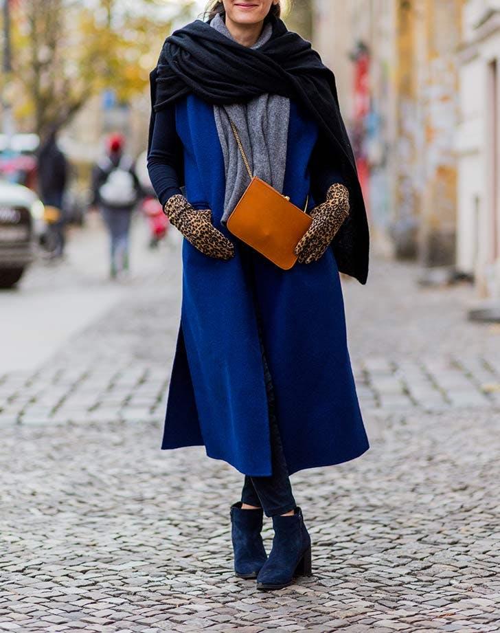blue coat navy boots leopard gloves