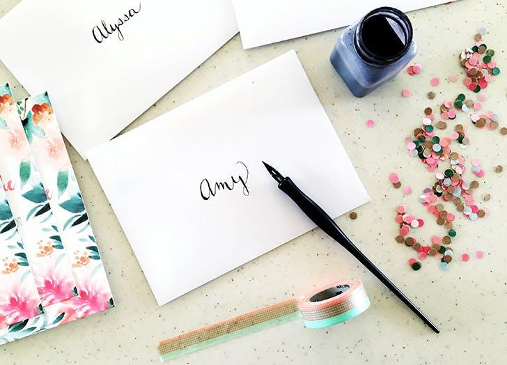 bridal shower calligraphy