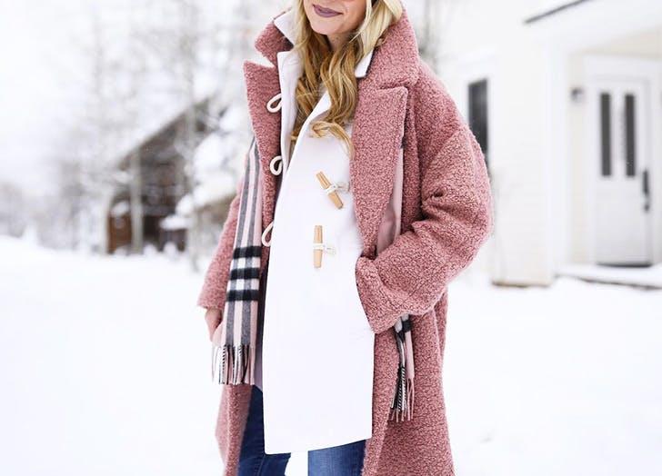 double coats pink boucle white toggle