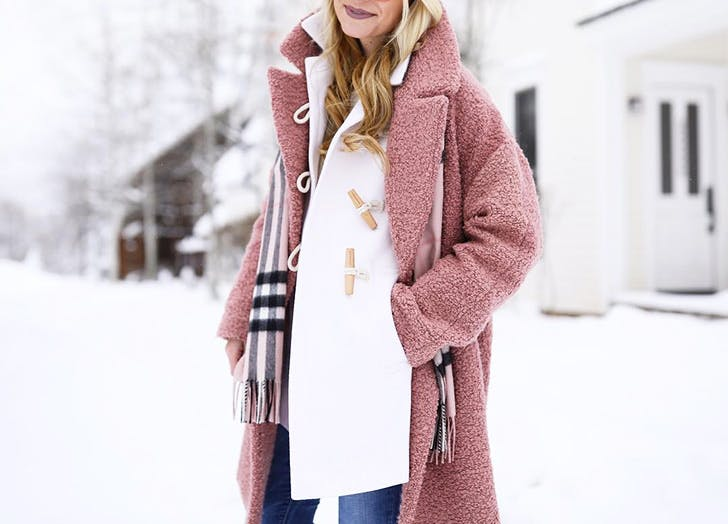 double coats pink boucle white toggle