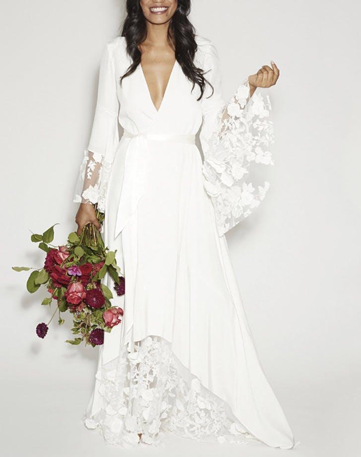 wedding dresses bell sleeves