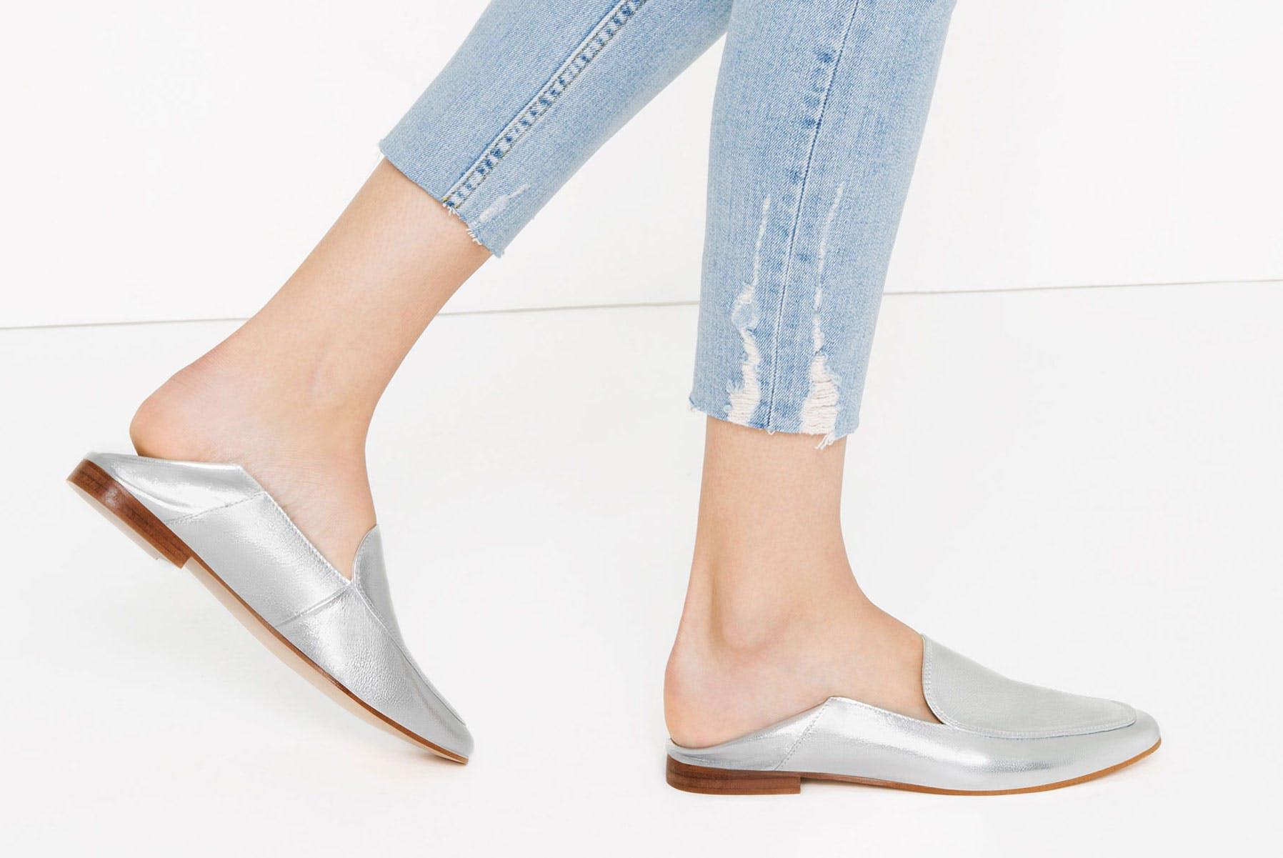 zara metallic slip on loafers dallas