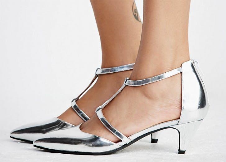 jeffrey campbell silver kitten heels NY
