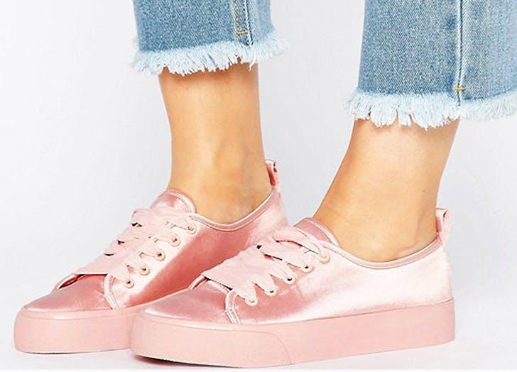 pink satin sneakers NY