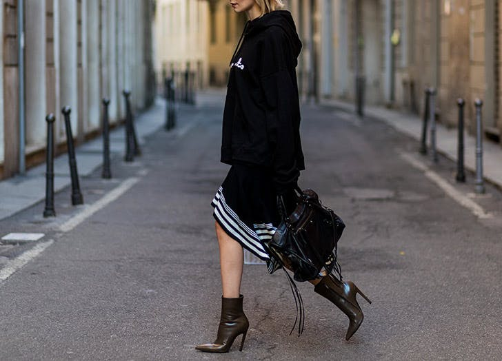 black hoodie and skirt NY