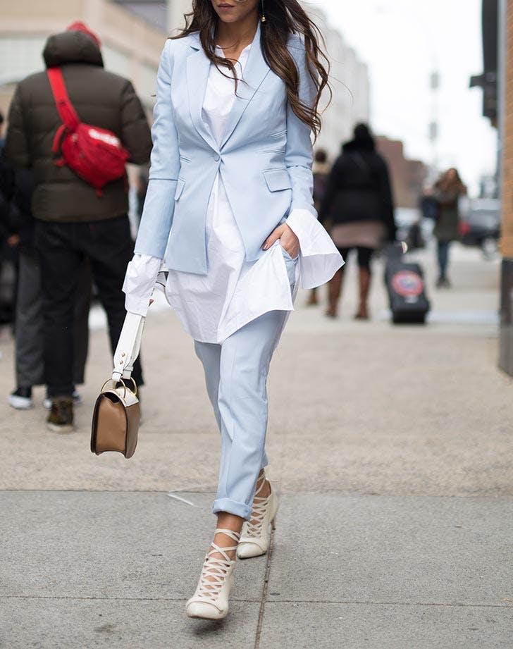 light blue pantsuit NY