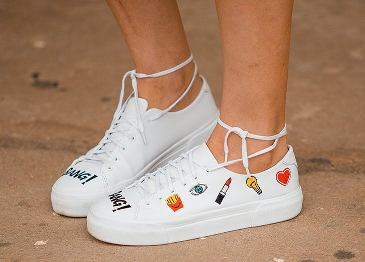 white patch embroidery sneakers NY
