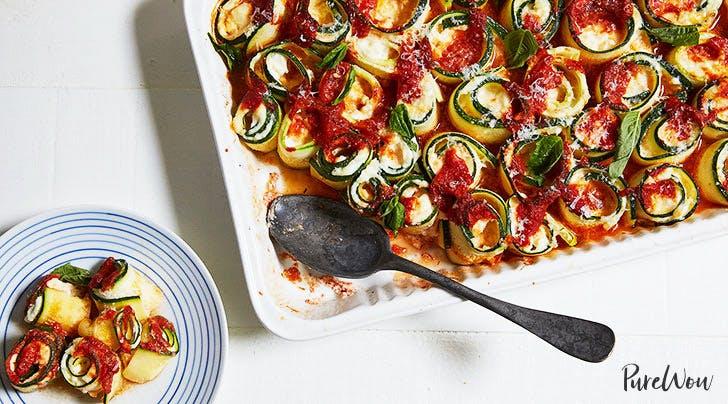 Baked Zucchini Ziti Spirals with Mozzarella